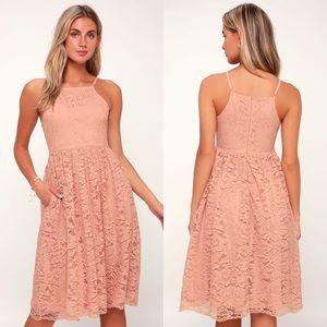NWT Lulus Kinzie Blush Pink Lace Midi Dress XS